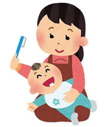 歯磨きする親